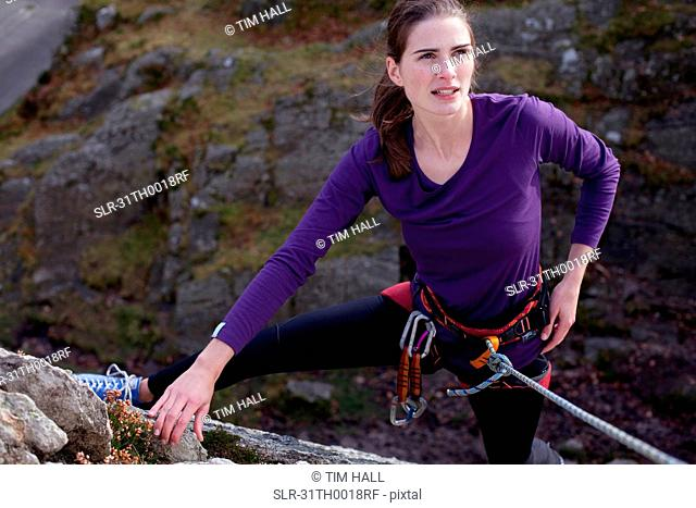 woman rock-climbing