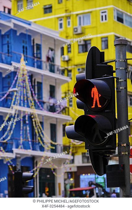 Chine, Hong Kong, Hong Kong Island, quartier de Wan Chai, maisons colorées / China, Hong-Kong, Hong Kong Island, Wan Chai, colorfull houses