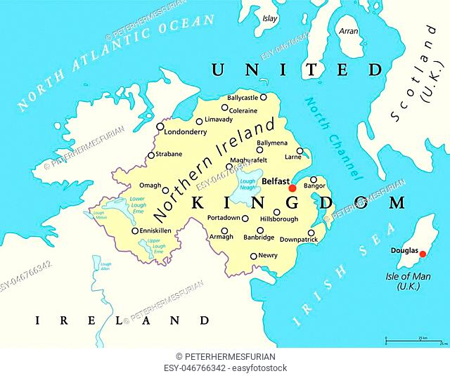 Northern Ireland political map with capital Belfast, national border and cities