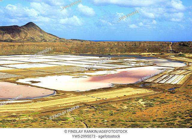 View across the salt ponds of Petra de Lume, towards Monte Grande and the Atlantic, Sal, Salinas, Cape Verde, Africa