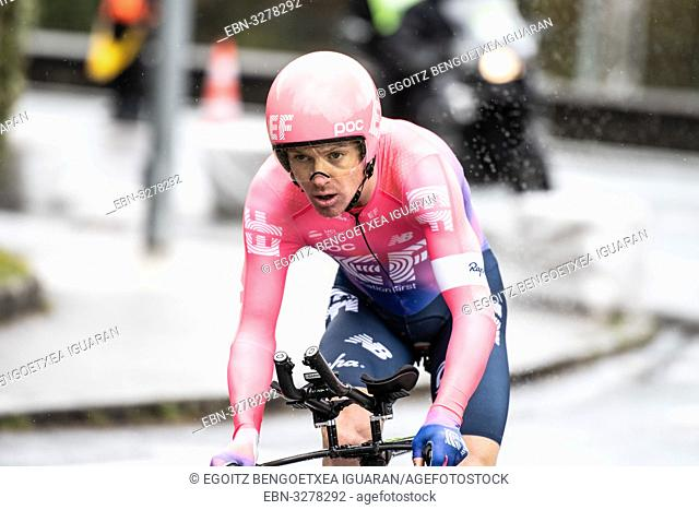 Simon Clarke at Zumarraga, at the first stage of Itzulia, Basque Country Tour. Cycling Time Trial race