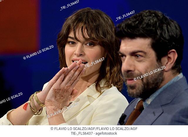 The actress Kasia Smutniak with the actor Pierfrancesco Favino during the tv show Che tempo che fa, Milan, ITALY-02-04-2017