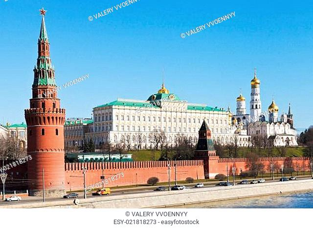 Kremlin wall, towers, palace, cathedrals in Moscow