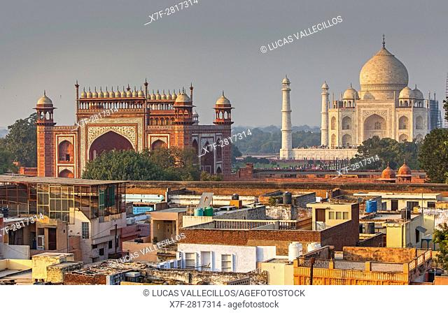 Taj Mahal and roofs of the city, Agra, India