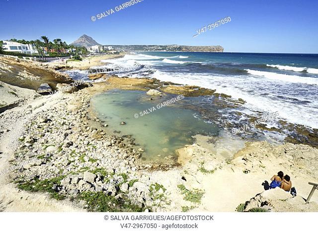 Tourists on the beach of Javea, Alicante, Valencia, Spain, Europe