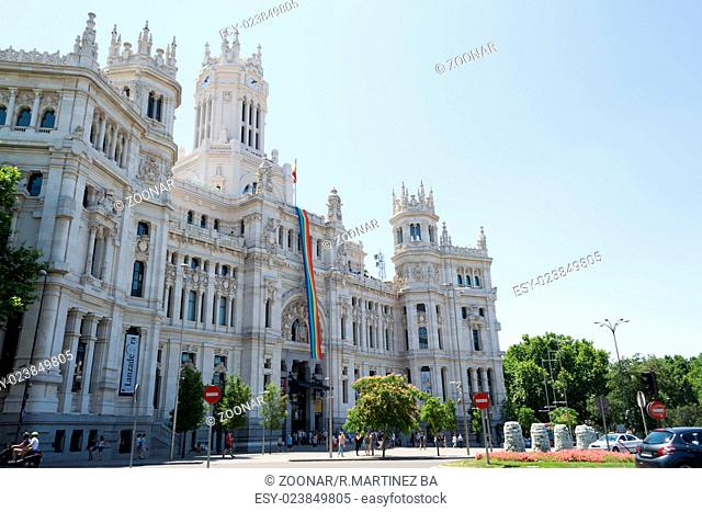 Madrid city hall with the gay pride flag