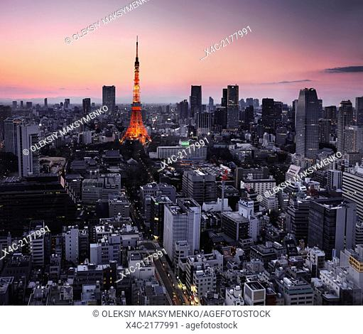 Illuminated Tokyo tower during sunset. Minato, Tokyo, Japan