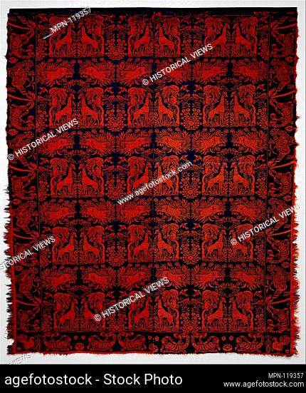 Coverlet. Date: ca. 1840-50; Geography: Made in Ohio, United States; Culture: American; Medium: Wool, woven; Dimensions: 85 x 73 in. (215.9 x 185
