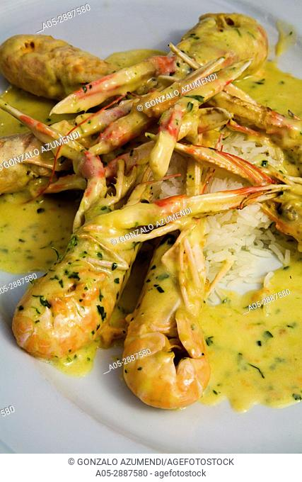 Sauteed crawfish. Es Casino restaurant. Sant Climent. Minorca. Balearic Islands. Spain. Cigalas salteadas. Restaurante Es Casino. Sant Climent
