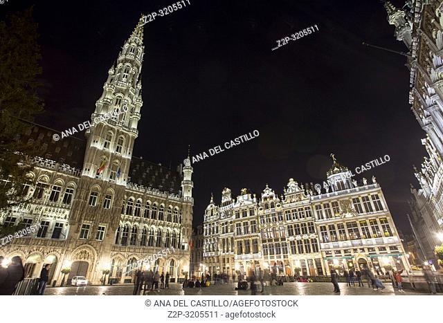 BRUSSELS BELGIUM ON NOVEMBER 24, 2018: Grand Place by night in Brussels, Belgium