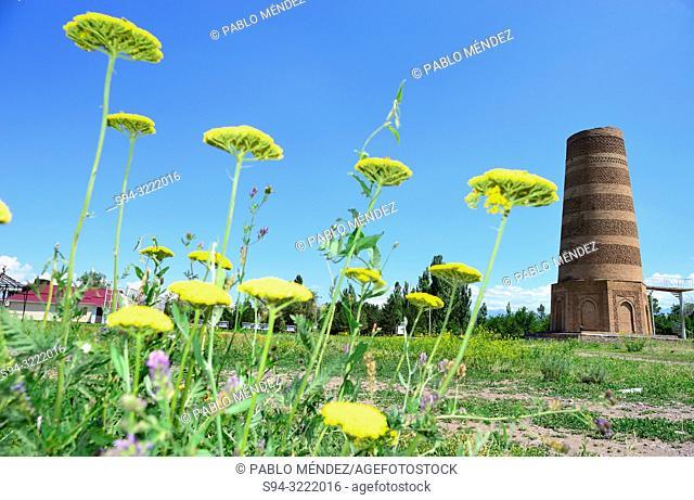 Burana tower. Balasagun city, Chui province, Kyrgyzstan