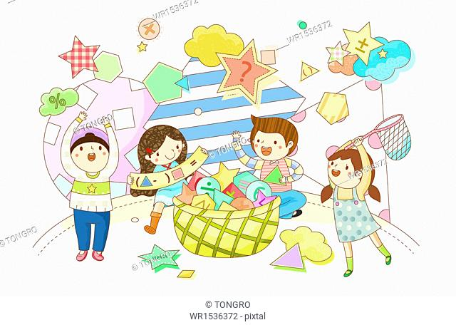 four kids playing with different shapes