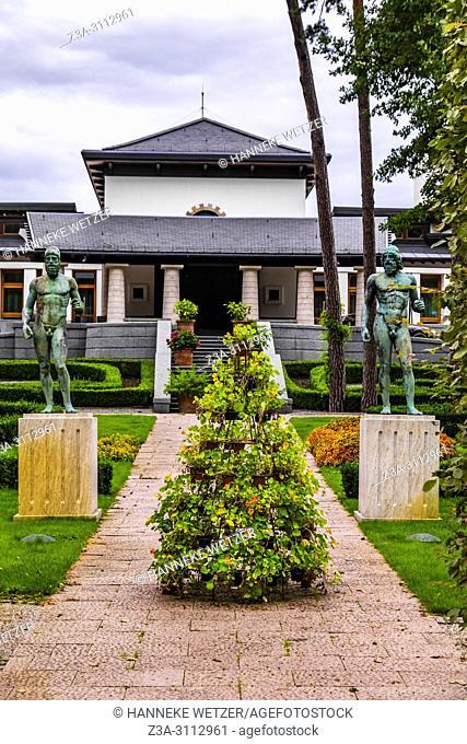 Greek statues in front of a house in Jurmala, Latvia, Europe
