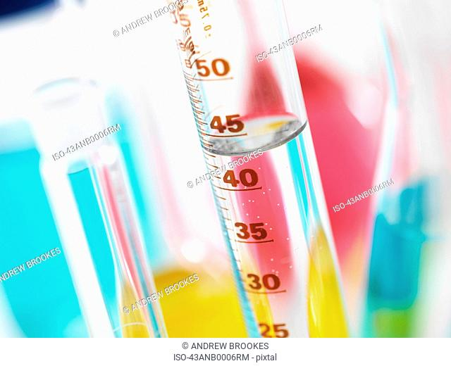Close up of water in graduated cylinder