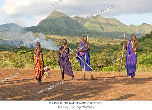 Donga stick fighters, Surma tribe, Tulgit, Omo river valley, Ethiopia