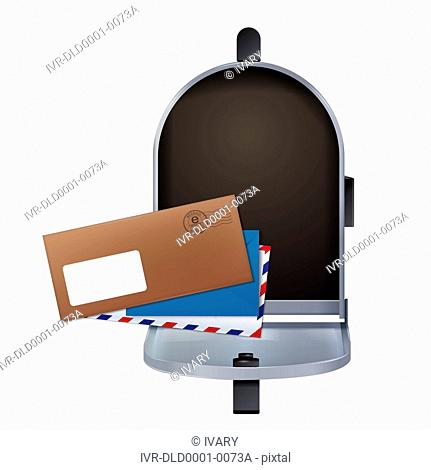 Illustration of envelopes and open mailbox