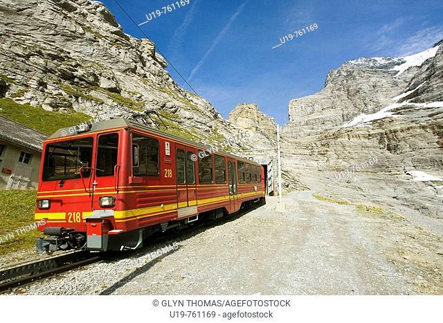 Jungfraubahn train at Eigergletscher, Bernese Oberland, Switzerland