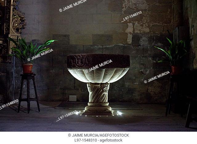 Baptism bath in church, Grañon Camino de Santiago Spain