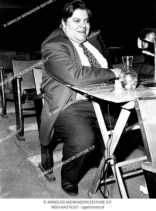Tino Buazzelli in Sei personaggi in cerca d'autore. The Italian actor Tino Buazzelli sitting in stalls during the rehearsal of the theatrical play Sei...