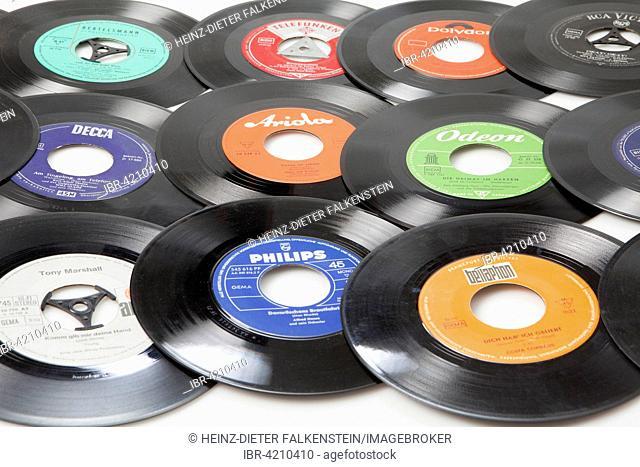 Old records, singles on vinyl