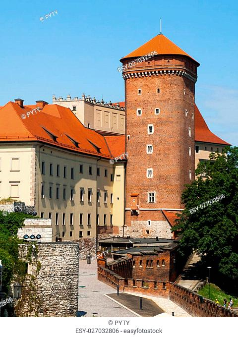 Old gothic Senatorska Tower made of brick at Wawel Castle in Krakow, Poland