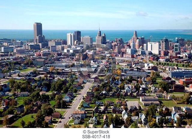 Aerial of Buffalo Skyline with Lake Erie in background