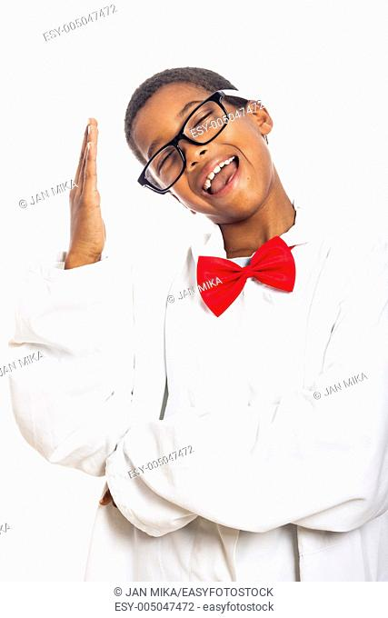 Funny clever scientist school boy gesturing, isolated on white background