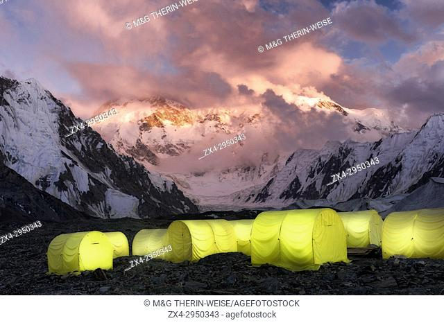 Khan Tengri Glacier viewed at sunset from the Base Camp, Central Tian Shan Mountain range, Border of Kyrgyzstan and China, Kyrgyzstan