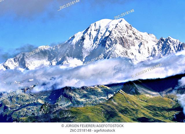 Mountain Mont Blanc, view of Aiguille Grive, Savoie, French Alps, France