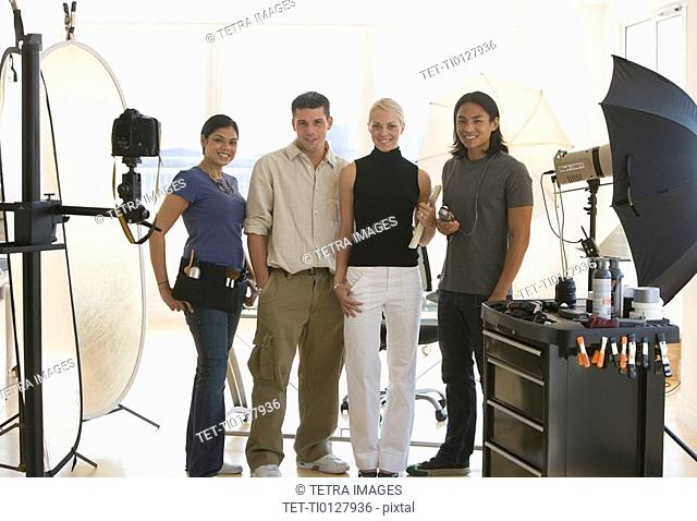 Businesspeople at photo shoot in studio