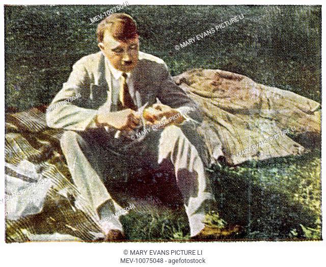 ADOLF HITLER Relaxing on the lawn at Berchtesgaden, circa 1933