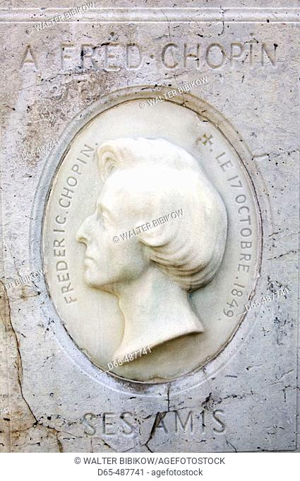 Resting Place of Frederic Chopin-Composer. Père Lachaise Cemetery. Paris. France