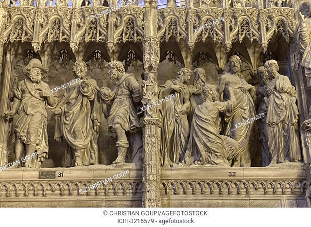 Les Pelerins d'Emmaus et L'incredulite de Thomas, scenes sculptees, par Thomas Boudin en 1610 et 1611, ornant la cloture ou tour du choeur de la Cathedrale...