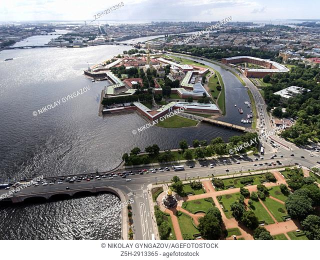 The monument of history The Peter and Paul Fortress from a bird's-eye view. Saint Petersburg. Russia.