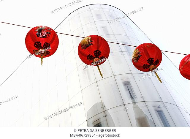 Chinese red lampions decorate a street in London