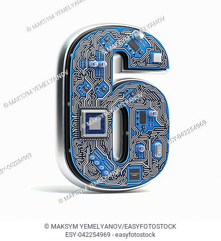Number 6 six, Alphabet in circuit board style. Digital hi-tech letter isolated on white. 3d illustration