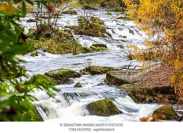 Swallow Falls located on the Afon Llugwy near Betws-y-Coed, Conwy, Wales, United Kingdom, Europe