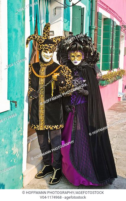 A masked couple a the carnival in Venice, Italy, Europe