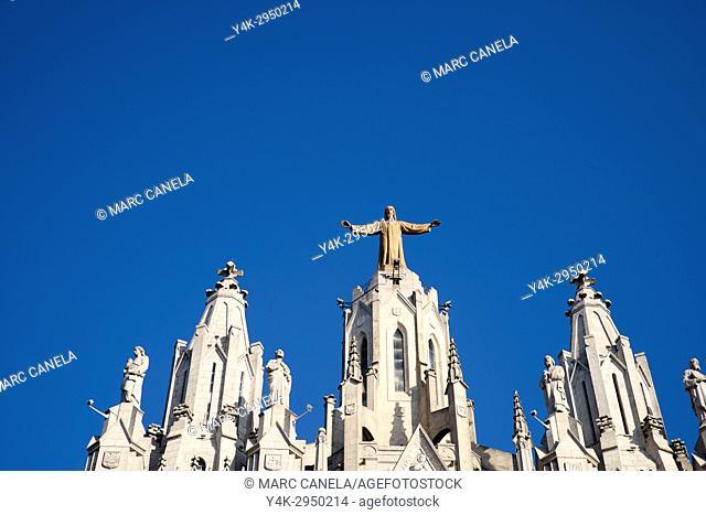 Spain, Barcelona, Tibidabo, Temple Expiatori del Sagrat Cor (Expiatory Church of the Sacred Heart of Jesus)
