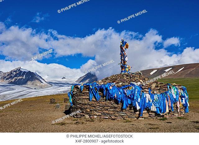 Mongolia, Bayan-Ulgii province, western Mongolia, National parc of Tavan Bogd, the 5 highest summit of the Altay mountains, Potanine glacier