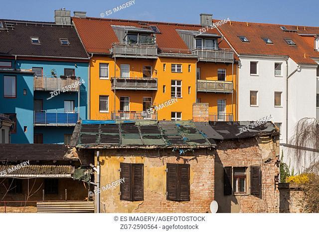 Dresdener Platz, decaying building. Historic architecture in Frankfurt (Oder), Brandenburg, Germany