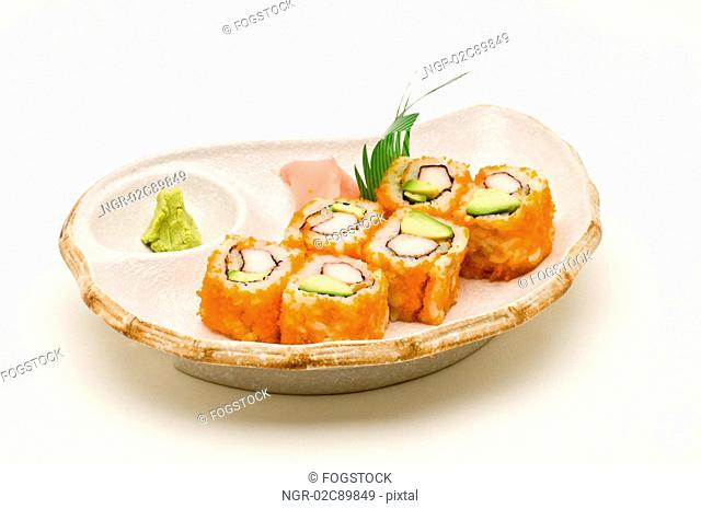 Sushi roll on plate