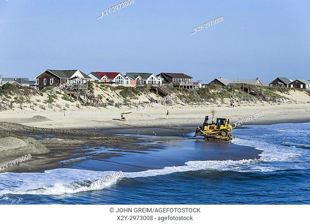 Rebuilding eroded beach, Nags Head, Outer Banks, North Carolina, USA