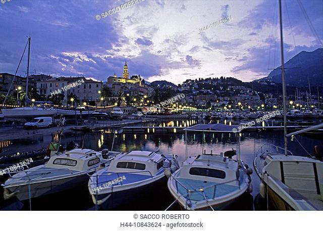 France, Europe, Menton, Alpes-Maritimes, Cote d'Azur, Mediterranean sea, Coast, Europe, Vieux port, Saint Michel churc