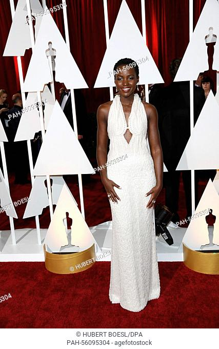 Actress Lupita Nyong'o attends the 87th Academy Awards, Oscars, at Dolby Theatre in Los Angeles, USA, on 22 February 2015