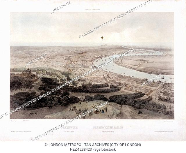 View of Greenwich, London from a hot air balloon, 1845; with the River Thames on the right