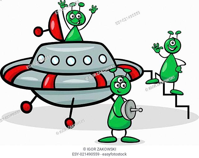 aliens with ufo cartoon illustration