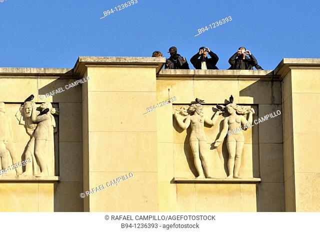 People taking pictures. Chaillot Palace. Paris, France