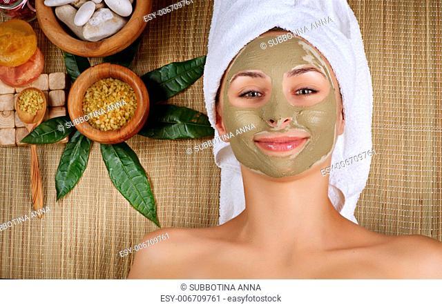 Spa Mud Mask. Woman in Spa Salon