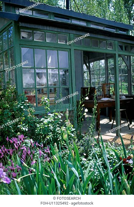 Blue irises in front of green framed summerhouse with open glass doors